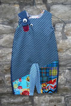 Blue Patchwork Denim Dungarees Terrible Two Winter Collection Toddlers Girls Boys Unisex Clothing Age 1-2 years Kids Dungarees, Denim Dungarees, Terrible Two, Denim Patchwork, Trunks, Trending Outfits, Handmade Gifts, Unique, Swimwear