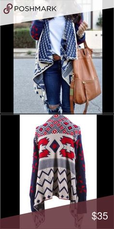 Haute Society Cardigan wrap Gorgeous cardigan with tribal print, excellent condition, no flaws! Sweaters Shrugs & Ponchos