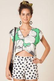 blusa decote floral paula