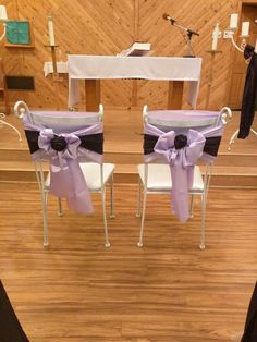 Cute chair idea. Using table runner and skinny sash. Bow and rosette