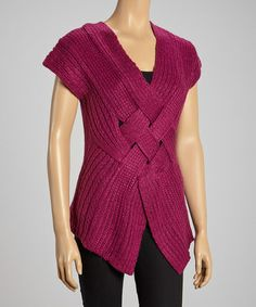 Take a look at this Plum Basket-Weave Sweater Vest by Olivia M on #zulily today!