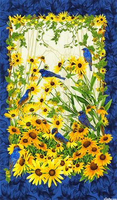 1 Bluebird Panel By Chong-a Hwang From Timeless Treasures Quilt Fabric Cotton Fabric Panels, Fabric Art, Watercolor Fabric, Collages, Vogel Quilt, Graffiti Kunst, Sunflower Quilts, Sunflower Art, Pop Art