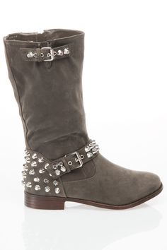 Gray Studded Boots