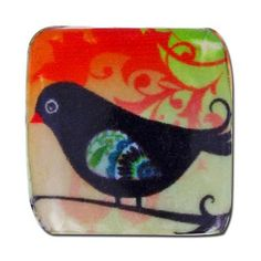 20x21mm Bird Decoupage Bead