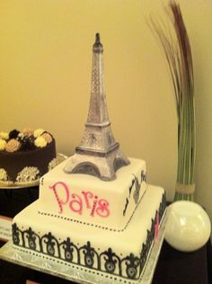 Eiffel Tower Cake with Chocolate Eiffel Tower