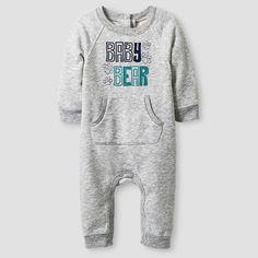 Baby Boys' Long-Sleeve Baby Bear Romper Baby Cat & Jack™ - Grey NB : Target