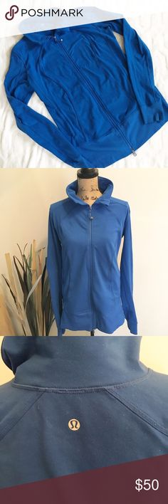 Lululemon full zip jacket Previously loved royal blue full zip jacket by Lululemon. No hood. There is some stickiness of the fabric that Lululemon is known for and also some pilling overall. A good fabric shaver would take care of this. If you want new condition this isn't for you. Still a very nice jacket. It does have thumbholes. Please note color may vary based on screen viewed.  Sz 12. lululemon athletica Tops Sweatshirts & Hoodies