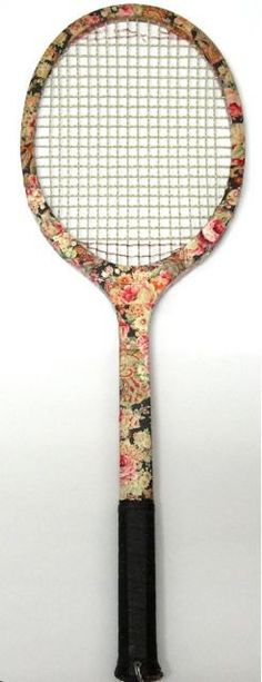 Decoupaged floral old tennis racket. $64.00, via Etsy.