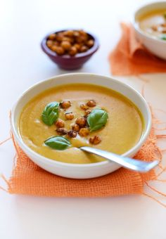 Sweet Potato Coconut Curry Soup with Spicy Baked Chickpeas