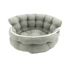 Precious Tails Mocha Brown Round Mini Tufted Pet Bed Sofa Cuddler with Canvas Cover and White Piping 18'x10' => Insider's special review you can't miss. Read more  : Pet dog bedding