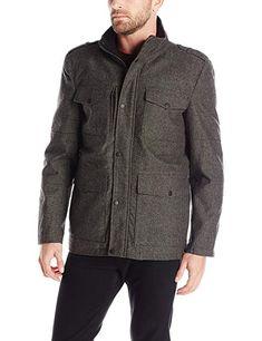 16811698892 Kenneth Cole REACTION Men's Herringbone Wool Four Pocket Coat, Black,  Medium: Herringbone four pocket wool coat