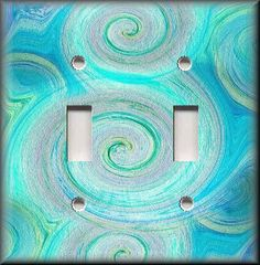 Light Switch Plate Cover Swirling Colors Aqua Blue Tones Home Decor | eBay