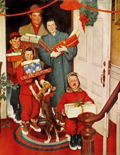 The best Norman Rockwell Christmas art, paintings, drawings and magazine covers. Celebrate holiday nostalgia with Vintage Norman Rockwell Christmas art. Peintures Norman Rockwell, Norman Rockwell Art, Norman Rockwell Paintings, Christmas Ad, Christmas Scenes, Vintage Christmas Cards, Christmas Pictures, Hallmark Christmas, English Christmas