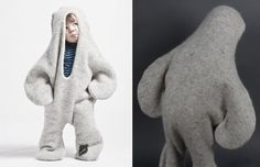 SEAL COSTUME! Vík Prjónsdóttir is a collective of Icelandic designers that one day decided to start collaborating with an old knitting factory in the countryside of Iceland. They make all sorts of nice stuff, like blankets, scarfs and knitted seal costumes.