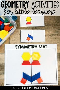 Teaching geometry and symmetry can be fun Tons of ideas for geometry activities geometry anchor charts geometry games and geometry freebies Teach and with. Geometry Games, Teaching Geometry, Teaching Math, Geometry Art, Sacred Geometry, Symmetry Activities, Hands On Activities, Math Activities, Tangram