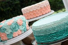 Peach & Teal Baby Shower Cakes - Rosettes, SeaShell, and Ribbon Designs.