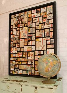 Make a piece of wall art from pics, trinkets & postcards from travels. Like the idea if a globe next to it.