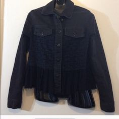 Black jacket by free people with shear ruffle Thin Jean type free people jacket with shear ruffle around the bottom Free People Jackets & Coats Jean Jackets