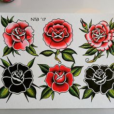 Rose red black roses tattoo flash newdawntattoo ntb - Old School Traditional Tattoo Flowers, Traditional Tattoo Old School, Traditional Roses, Traditional Tattoos, Pink Rose Tattoos, Red Heart Tattoos, Black And Red Roses, Red Black, American Traditional Rose