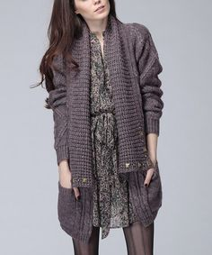 Take a look at this Wine Dinah Studded Wool-Blend Open Cardigan by Heartloom on #zulily today!