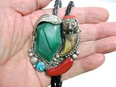 Vintage Navajo Faux Bear Claw Sterling Silver Turquoise Coral Malachite Bolo Tie