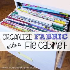 How+To+Organize+Fabric+in+a+File+Cabinet  And of course do a makeover on the cabinet. Ideas galore out there.