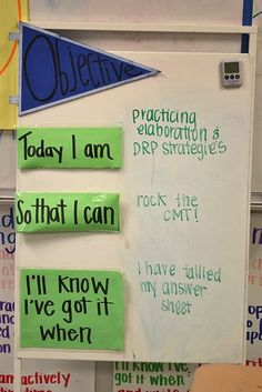 i love this way of displaying objectives in the classroom. making connections to real life is so key!