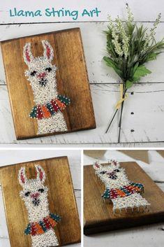 String Art Templates, String Art Patterns, Nail String Art, String Crafts, Diy And Crafts, Crafts For Kids, Arts And Crafts, Farm Crafts, Alpacas