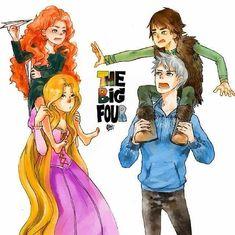 You just can't ignore the original fandom. Jack Frost, Disney Crossovers, Cartoon Crossovers, Disney Songs, Disney Memes, Princesa Merida Disney, Merida And Hiccup, Disney Hogwarts, Pixar