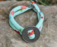 Love aqua and red together.  Kimono Cord Button Bracelet  aqua blue cord  silver by TheNextDoor, $17.00