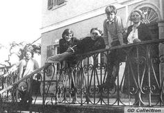 Durrell family in front of the Daffodil-Yellow Villa, Corfu, 1935. (From left: Margo Durrell, Nancy Myers Durrell, Lawrence Durrell, Gerald Durrell and Louisa Dixie Durrell, photograph by Leslie Durrell)