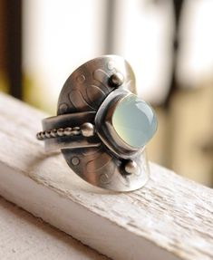 Saddle Ring in Textured Silver and Chalcedony, Textured Silver, Stone and Silver, Made to Order in YOUR Size