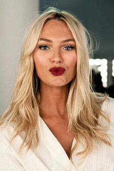 Would you be brave enough to try a bold dark red lipstick for your wedding day?