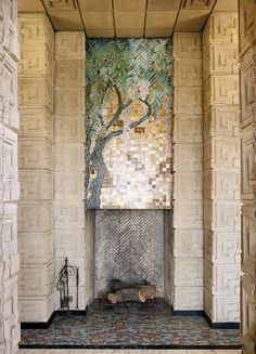 And in fact I believe it is, but I think the gorgeous big one in the Tokyo Hotel may still be extent in the reconstruction - Leigh ** Ennis House, Frank Lloyd Wright, architect. The mosaic is meant to be the only left in any house Wright designed. Organic Architecture, Art And Architecture, Architecture Details, Architecture Interiors, School Architecture, Art Deco, Art Nouveau, Mosaic Fireplace, Fireplace Candles
