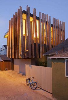 Stylized Wood Privacy Screens : Slatted Wood Screens