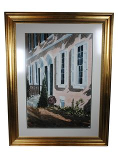 "A detailed watercolor by Thomas Newnam, that perfectly captures light and shadows, entitled ""Pink House"". The watercolor on paper piece is signed in the lower right corner, and is displayed under glass with a double mat in a gilt wood frame."