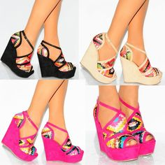 STRAPPY SANDALS MULTI PINK BLACK NUDE PLATFORMS WEDGED WEDGES HIGH HEELS SHOES #Unbranded #StrappyAnkleStraps