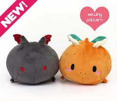 "PDF Plush sewing pattern - Dragon Roll loaf stacking kawaii cute plushie - DIY easy stuffed animal softie toy 13"""