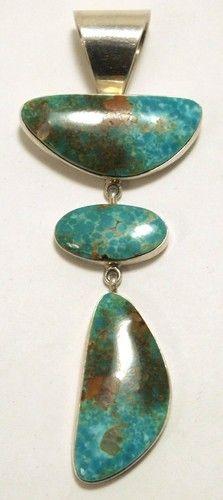 Navajo Kingman Turquoise Sterling Silver Pendant