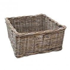 Grey & Buff Large Square Rattan Storage Basket