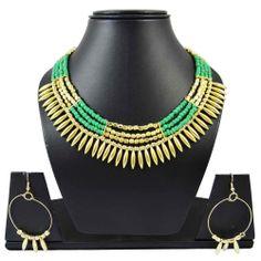 Green Acrylic Beads Gold Tone Metal Choker Style Necklace set Fashion Jewelry