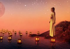 Download Wallpaper Woman, Sadness, Water, Candles, Planets, Stars, Sunset HD Background