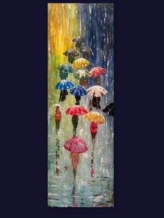 Original Painting Umbrellas - 47 x 16 - Acrylic Rain Impasto Painting -  Made To Order by ArtonlineGallery