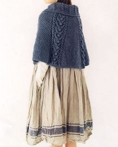 Yes to skirt, long sleeve white shirt & knitted blue capelet. Yes to all.