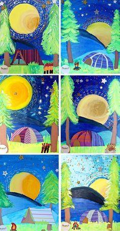 camping under the night sky www handmakery com Summer Art Projects, School Art Projects, Arte Elemental, Classe D'art, Third Grade Art, Kindergarten Art Projects, Ecole Art, Art Lessons Elementary, Art Lesson Plans