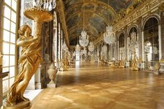Versailles parquet floor : The parquet de Versailles in the Hall of Mirrors, Versailles Palace , 17th century.  #Versailles #parquet #floor #antique #french #decor #style #louis14
