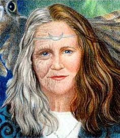 """Art by Joanna Powell Colbert. The goddess Bríde (pronounced Breed), or Brigit, or Brighid, or Brigantia, later morphed into the Christian St. Bridget. Brigid has many aspects, one of which is her transformation from the Old Woman of Winter into the Maiden of Spring. Mara Freeman writes: """"The Old Woman of Winter, the Cailleach, is reborn as Bride, Young Maiden of Spring, fragile yet growing stronger each day as the sun rekindles its fire, turning scarcity into abundance."""""""