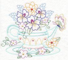 Kitchen Teapot Bouquet (Vintage) design (M11086) from www.Emblibrary.com