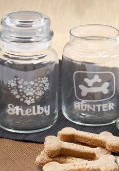 Personalized Engraved Dog Treat Glass Jar