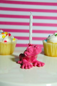 Pink Frog Candle Holder by TonysDinostore on Etsy
